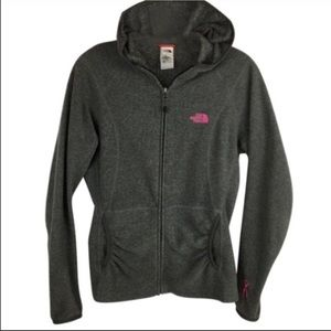 North Face GrayFleece Hoodie Breast Cancer Logo M